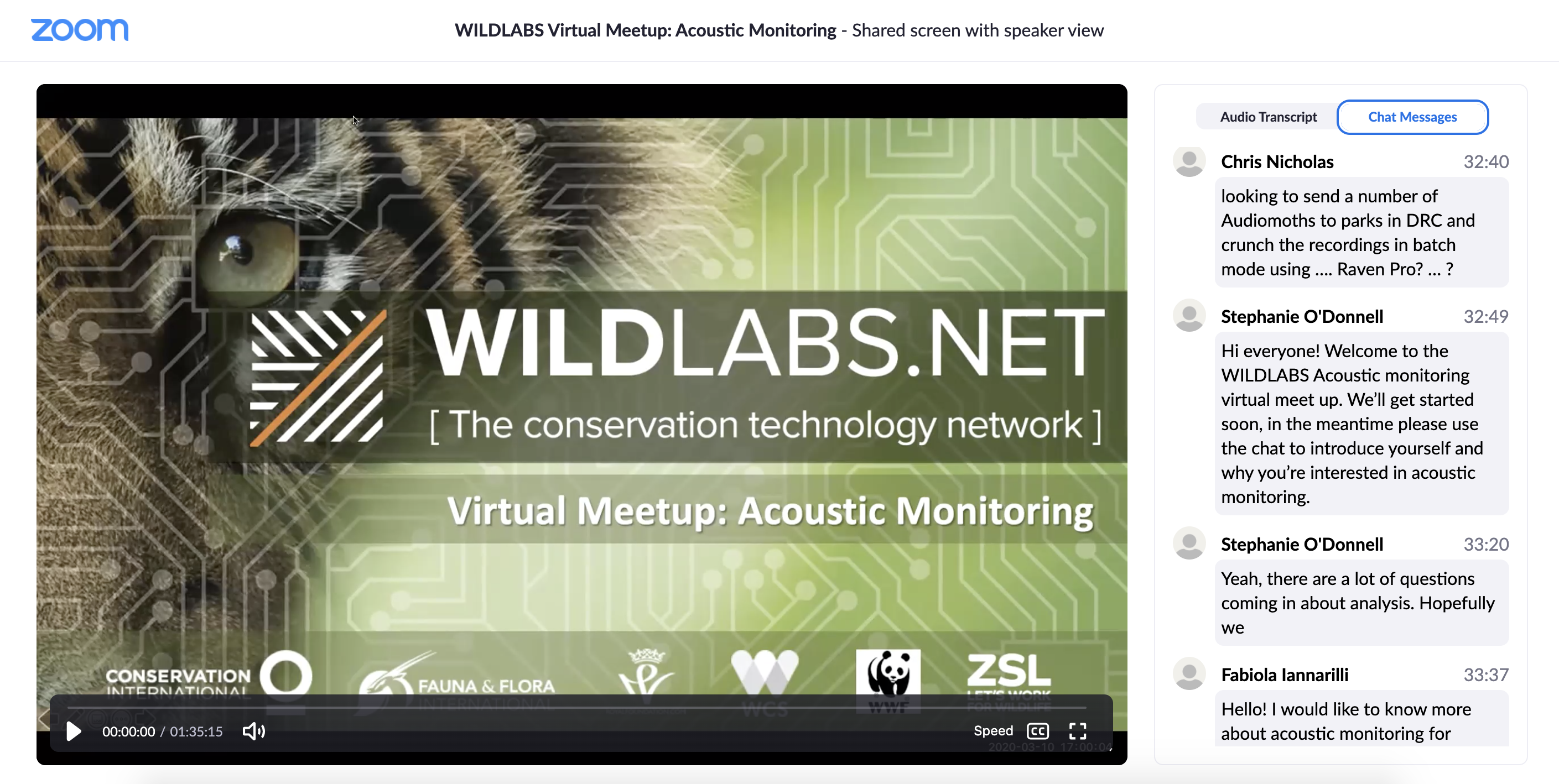 Acoustic Monitoring Meetup Link to Video Recording