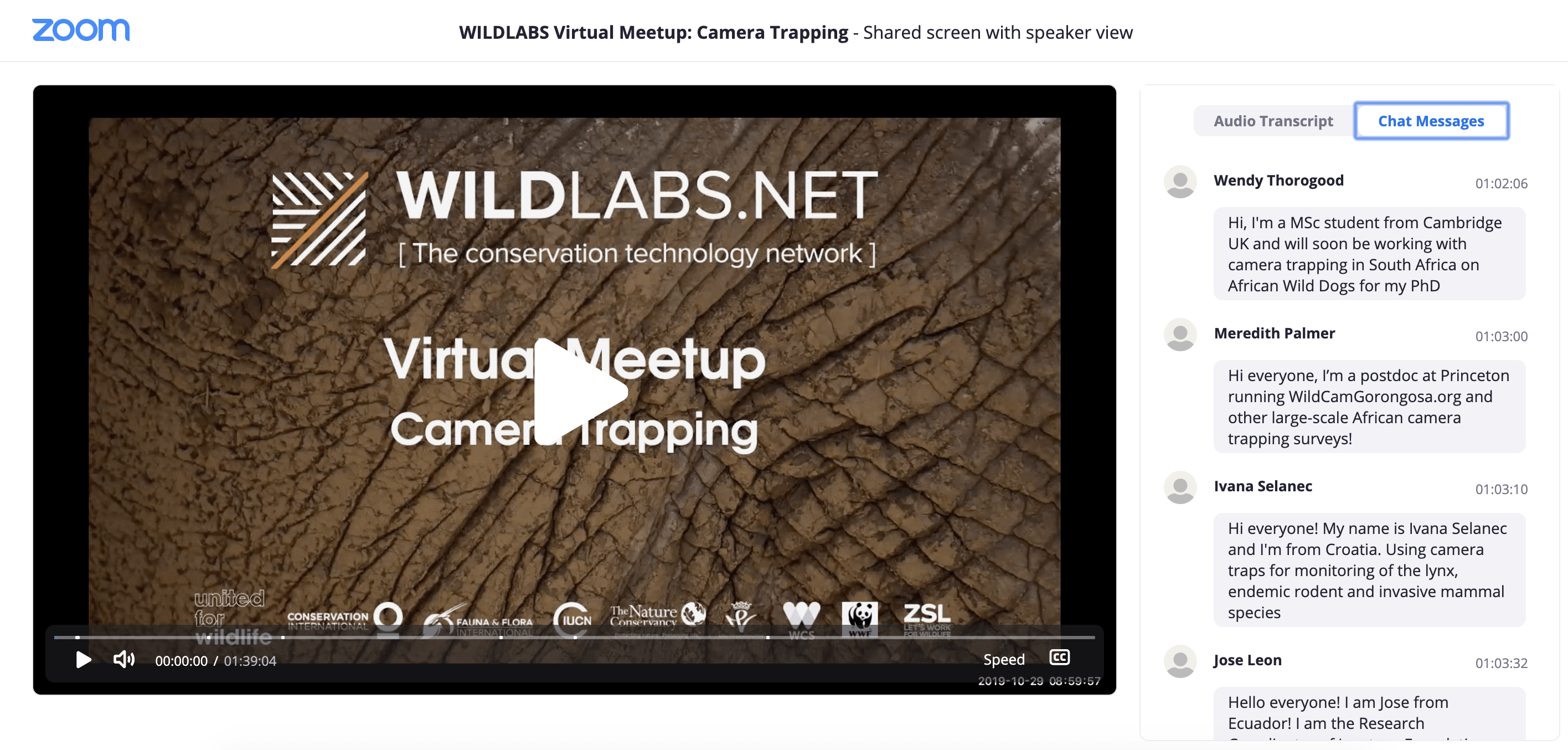 Camera Traps Meetup Link to Video Recording