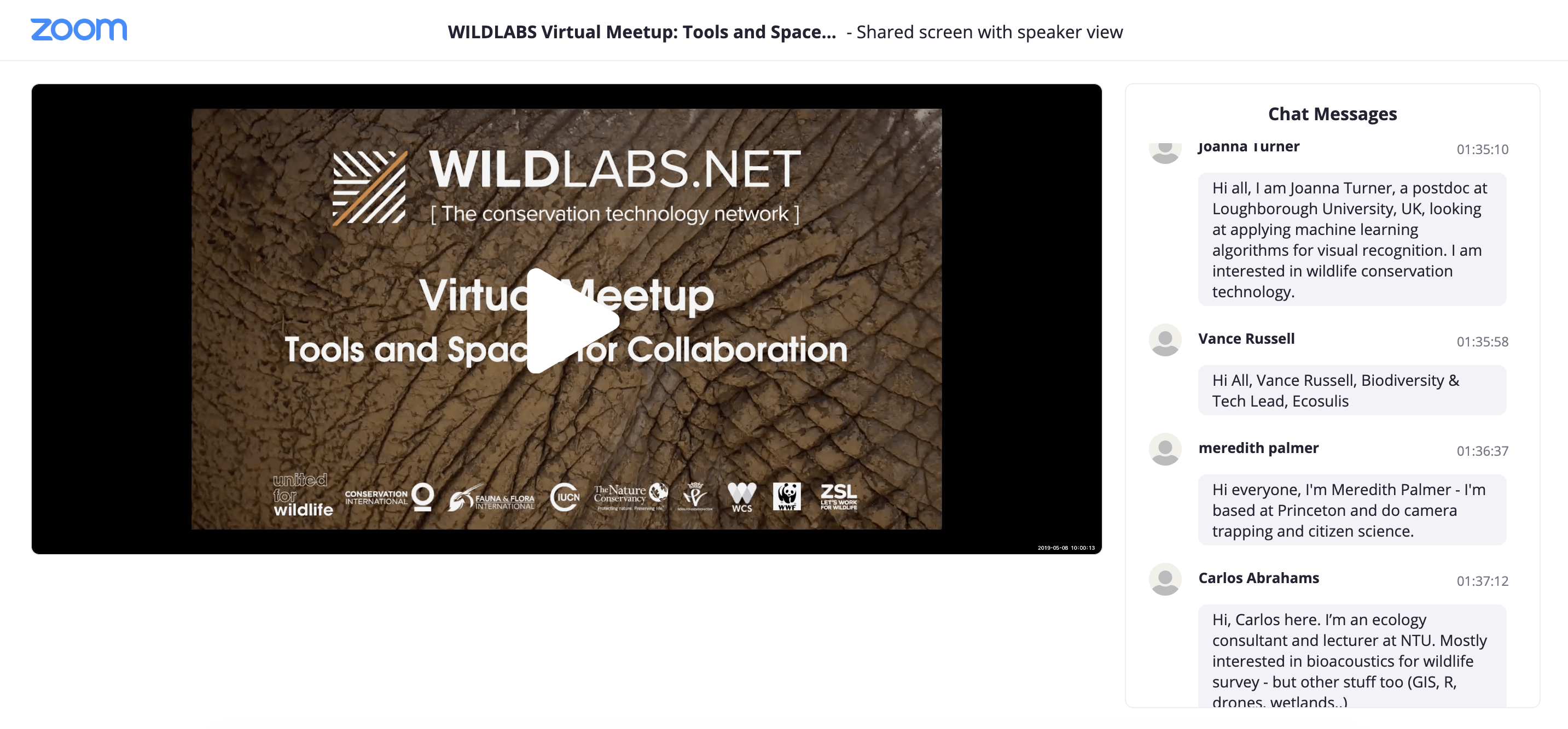 WILDLABS Virtual Meetup Link to Collaboration Video Recording
